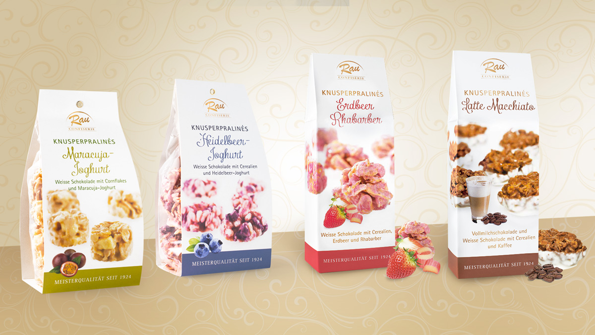 Confiserie Rau Altenstadt / Knusperpralinés Kollektion Packaging